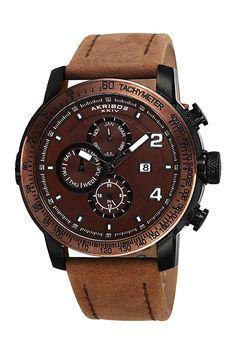 Akribos XXIV Men's Genuine Leather Strap Swiss Quartz Watch