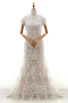 Perfect Trumpet-Mermaid V-Neck Dropped Court Train Tulle and Lace Ivory/Champagne Short Sleeve Zipper With Buttons Wedding Dress with Appliques and Beading LD4221 #designercollections #sleevelessdresses #customdresses #cocomelody