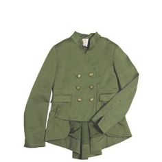 DQUEEN - DOUBLE BREASTED COTTON JACKET  Mandarin collar . Double breasted button closure . Two front pockets . Satin lining . Asymmetric length. Sample size: 8 years