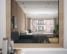 Proyecto de interiorismo en 3D, dormitorio principal con baño. Freelance 3D Madrid 06 alfonsoperezalvarez.com