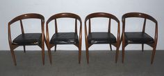 Set 4 Vintage Danish Modern Dining Chairs Hans Wegner Style Mid Century #MidCenturyModern