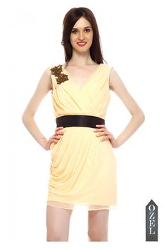 Pleated dress with embellished broaches on shoulder by Ozel Studio - OZEL STUDIO - BRANDS