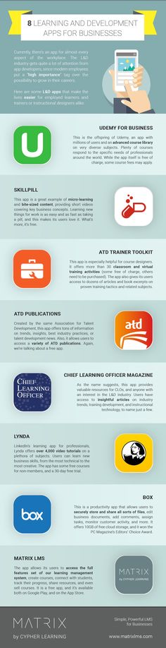 8 Learning and Development Apps for Businesses Infographic - http://elearninginfographics.com/learning-development-apps-businesses-infographic/