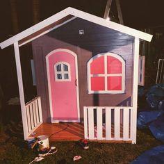 Timber wooden Kids cubby house. Billie Cubby Can arrange delivery through out Australia. Great paint job by a Brisbane Customer. wwwhideandseekcubbies.com.au