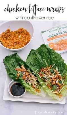 Easy Recipes - Chicken Lettuce Wraps Recipe with Cauliflower & Sweet Potato Rice -- @GreenGiant Riced Veggies via Misty Nelson frostedmoms.com @frostedevents #VeggieSwap ad