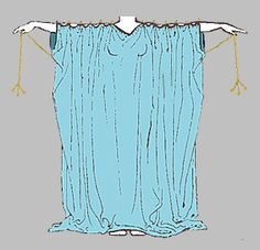 The common sleeved tunic worn by roman women was similar to the Greek chiton. 2 wide pieces of cloth were sewn together almost to the top, leaving just enough room for armholes, pulled over her head, and pinned or buttoned at intervals over her shoulders and arms, forming a dress with sleeves, belted under the breasts, at the waist, or at the hips. The length of the sleeves was determined by the width of the cloth. Tunics could be brightly colored and made of lightweight fabrics like silk.