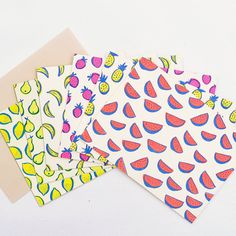 Neon Fruit Stationery