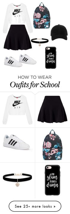 """""""Casual"""" by vrazkha on Polyvore featuring NIKE, Miss Selfridge, adidas, Herschel Supply Co., rag & bone, Casetify and Betsey Johnson"""