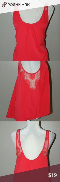 SALEURBAN OUTFITTERS Kimchi Blue High Low top MOVING SALEReddish orange lace insert high low loose fitting tank top Urban Outfitters Tops Tank Tops