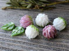 Lampwork Clover Flower Beads - Set of 7 pc Glass Flowers Beads, Glass Beads, Handmade Lampwork Flower Beads