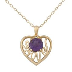 """18k Yellow Gold Plated Sterling Silver Genuine Africa Amethyst """"Love"""" Heart Pendant Necklace, 18"""" Amazon Curated Collection. $39.00. The natural properties and composition of mined gemstones define the unique beauty of each piece. The image may show slight differences to the actual stone in color and texture.. Made in China. Rhodium plated"""
