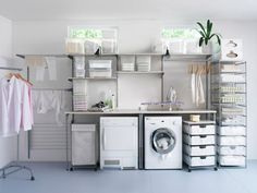 Laundry room cabinets get inspired by our laundry room storage ideas and designs. Allow us to help you create a functional laundry room with plenty of storage and wall cabinets that will keep your laundry. Garage Laundry, Laundry Room Shelves, Laundry Room Cabinets, Laundry Area, Laundry Storage, Laundry Room Organization, Small Laundry, Laundry Room Design, Ikea Laundry