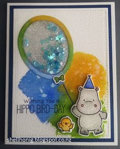 Watercolour shaker cards featuring MFT stamps #mftstamps #shakercards #distressink #happyhippos #adorableelephants #lucyscardsMy Time