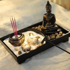 AUGKUN Buddha Statue Zen Garden Sand Meditation Peaceful Relax Decoration Set Spiritual Buddha Incense Burner Feng Shui Decor - All For Garden Meditation Room Decor, Zen Room Decor, Smiling Buddha, Jardin Zen Interior, Jardin Zen Miniature, Deco Zen, Mini Zen Garden, Zen Sand Garden, Spirituality