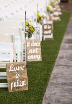 Rustic religious aisle marker decorations...Corinthians 13.4. Also as reception centerpieces and home decor. 11 total: love is patient. love is kind. it does not envy. it does not boast. it is not proud. it is not rude. it always protects. always trusts. always hopes. always perseveres. love never fails. www.myonlineweddi... #RusticWedding #WeddingSigns #ChorinthiansWedding #WeddingCeremony
