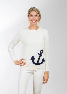 Lightweight cotton crew neck sweater with a fun flamingo print! Designed by Two Bees Cashmere. Anchor Sweater, Beach Sweater, Summer Stripes, Flamingo Print, Striped Cardigan, Cotton Sweater, White Sweaters, Navy And White, Cashmere