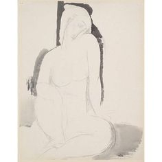 'Seated Nude', 1914, by Amadeo Modigliani. Pencil and watercolour on paper. #art #drawing #amadeomodigliani
