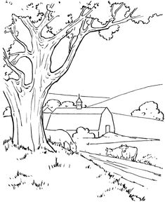 wonderful farm life and scene coloring page for kids