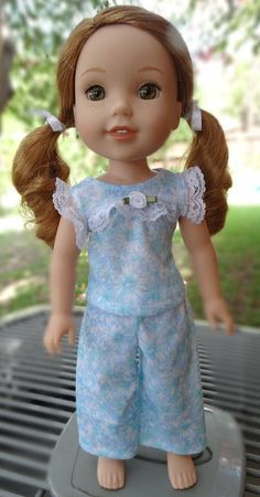 14.5 Doll Clothes Sweet Pajama Set For American by Designed4Dolls