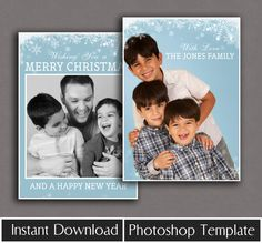 Christmas Card Template photoshop holiday card by PixelsandPine