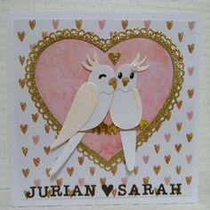Marianne Design Cards, Pop Up Cards, Parakeet, Anniversary, Paper Crafts, Birds, Scrapbook, Molde, Scrappy Quilts