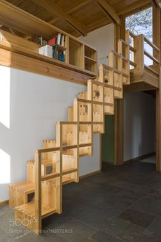 House in Madalena, wooden stairs designed by Castanheira & Bastai Arquitectos Associados. From Design Milk website. Wood Staircase, Wooden Stairs, Modern Staircase, Staircase Design, Staircase Ideas, Stair Design, Small Staircase, Spiral Staircase, Staircase Remodel