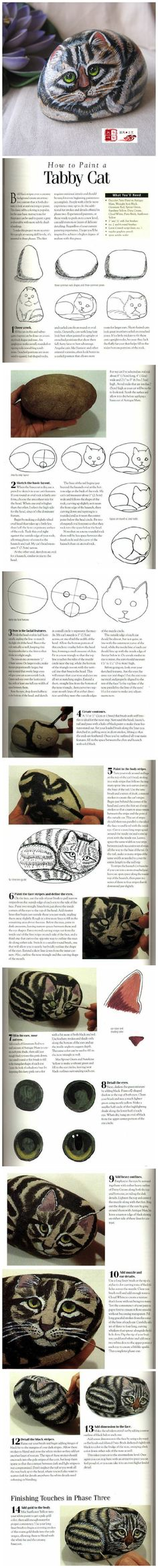 How to paint cats on rocks