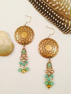 A handmade bohemian inspired pair of etched brass by JupiterOak