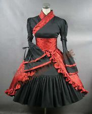 Gorgeous Black and Red Gothic Lolita Kimono Dress Size 8-10