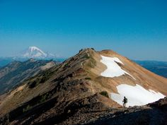 the Pacific Crest Trail cutting through the Goat Rocks Wilderness, headed towards Rainier