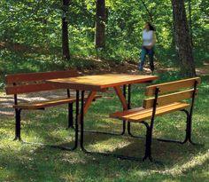 Picnicbänk stål/trä honungslasyr