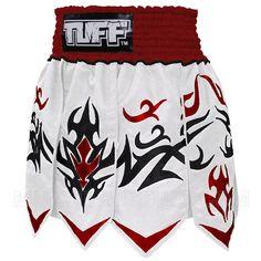 Tuff Muay Thai Boxing Kick Shorts (N) Gladiator White Red