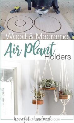 These DIY air plant holders with wood and macrame are perfect for any room in the house! Use up any scraps of wood you have and hang with simple macrame knots. Tutorial from Housefulofhandmade.com. #AirPlantHolder #Macrame #DIYDecor Diy Planters, Planter Boxes, Home Renovation, Hanging Air Plants, Quick And Easy Crafts, Diy Plant Stand, Macrame Knots, Plant Holders, Decoration