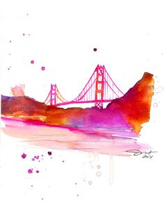 SF print from original watercolor by by JessicaIllustration, $25.00 #sanfrancisco #watercolor #jessicadurrant