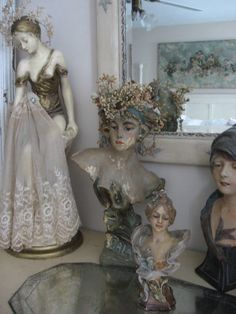 Antique bust with French wax bridal crown