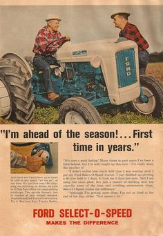 Antique Tractors, Vintage Tractors, Old Tractors, Vintage Farm, Vintage Tools, Classic Tractor, Classic Trucks, Retro Ads, Vintage Advertisements