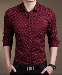 Tiny Letters Print Slimming Shirt Collar Long Sleeve Trendy Cotton Blend Button-Down Shirt For Men in Wine Red | Sammydress.com Mobile