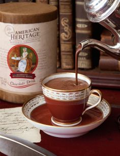 Greatest Moments in Chocolate History includes20 classic recipes from around the world, all made with American Heritage® Chocolate!ChocolateHistory ad