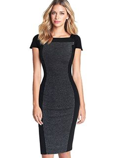 a72c791521c7 VfEmage Women's Celebrity Optical Illusion Slimming Wear to Work Bodycon  Dress 1659 BLK S Cap And
