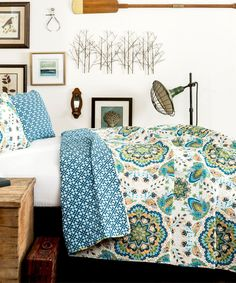 Look at this Green & Blue Addington Reversible Quilt Set on #zulily today!