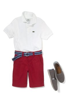 Lacoste Short Sleeve Piqué Polo, Pure Stuff 'Electric' Chino Shorts, and TOMS' Classic Youth Slip on