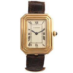 Cartier Yellow Gold Cristallor Rectangular Wristwatch with Cut Corners and Stepped Bezel
