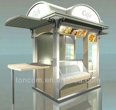 Üveges tárolóval kombinált zárható recepciós pult lehetősége... Food Cart Design, Food Truck Design, Container Restaurant, Rooftop Restaurant, Gelato Shop, Food Kiosk, Kiosk Design, Coffee Carts, Food Stands