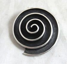 VINTAGE TAXCO MEXICO STERLING SILVER 925 SPIRAL PIN BROOCH PENDANT