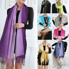 Gradient shawls look colorful and beautiful for soft spring shawls wraps. Try one today and make your outfit look refreshing. Adding a scarf works wonders for women!
