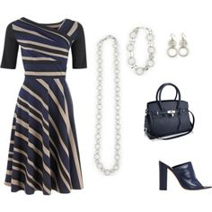 """Navy Blue, Black and Ivory stripes http://carolyn.mialisia.com/"" by carolyn-keeler-woodburn on Polyvore  Navy Blue, Black and Ivory striped dress with navy blue bag and shoes and Mialisia Simplicity necklace worn medium length layered, Perfect Circle as a bracelet, and Simple Circle earrings  http://carolyn.mialisia.com/"