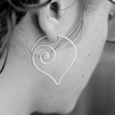 Beautiful Spiral Heart Earrings