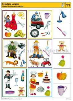 Logico Primo Povolania - autokorektívne karty Pre K Activities, Infant Activities, Community Workers, Logic Games, Matching Games, Speech And Language, Critical Thinking, Speech Therapy, Worksheets