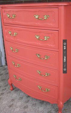 Sweet! - Coral painted dresser | CHECK OUT MORE DRESSER IDEAS AT DECOPINS.COM | #dressers #dresser #dressers #diydresser #hutch #storage #homedecor #homedecoration #decor #livingroom