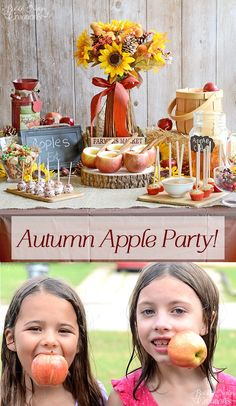 Autumn Apple Party with Apple Recipes! Fun Apple party with apple themed food and games! Apple Theme Parties, Apple Birthday Parties, Harvest Birthday Party, Birthday Ideas, Fall Harvest Party, Autumn Harvest, Childrens Party Games, Apple Festival, Apple Bars